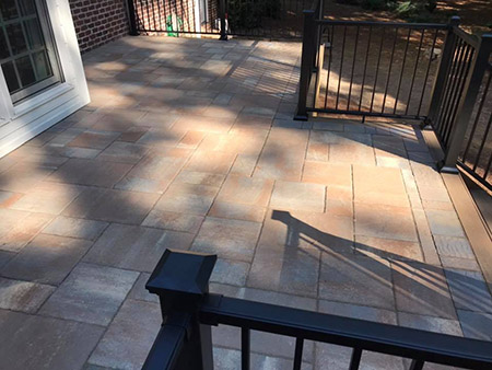 North Carolina, Majestic Outdoors, Elevated Deck & Belgard Concrete Pavers
